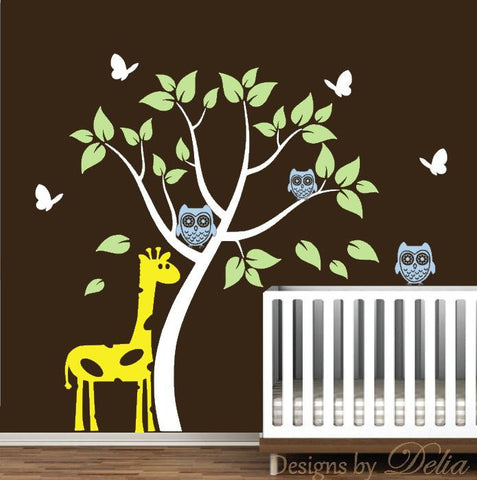 Boy or Girl Room Tree Decal with Giraffe, Owls and Butterflies