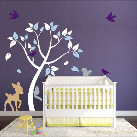 Nursery Tree Wall Decal for Boy or Girl Room