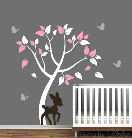 Nursery Wall Decal with Tree, Colorful Leaves, Deer, and Butterflies (Choose Colors)