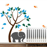 Play Room or Nursery Tree Decal with Elephant and Birds