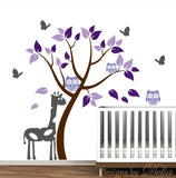 Nursery Tree Decal with Giraffe and Owls