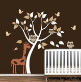Baby Room Vinyl Wall Decal with Tree, Giraffe, Owls, and Butterflies