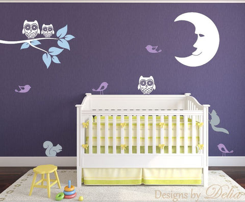 Nursery Decal for Wall with Tree branch, Moon, Owls, Birds, and Squirrels
