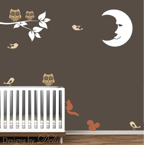 Baby Room Wall Decal with Moon, Owls, Birds, Squirrels, and Branch