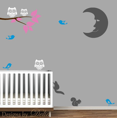Nursery Decor with Vinyl Wall Decals with Moon, Branch, Squirrels, Birds, and Owls
