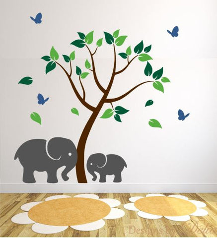 Kids Room Wall Decal with Elephants and Tree