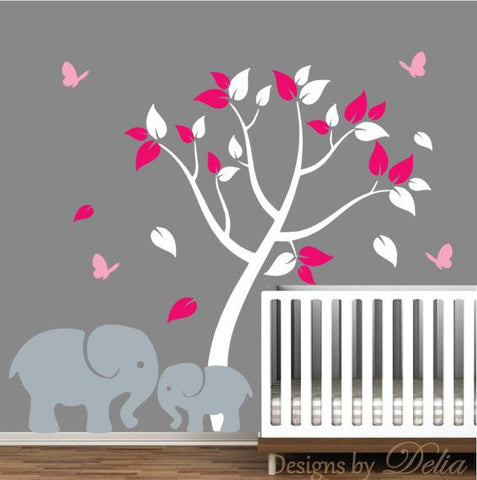 Nursery Decal with Elephants and Colorful Tree