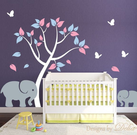 Nursery Tree Decal with Elephant, Baby Elephant, and Butterflies