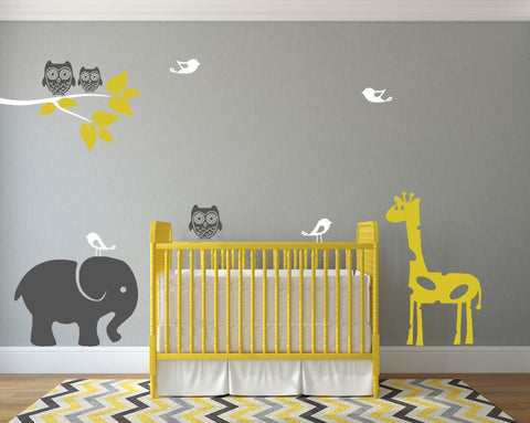 Boy Or Girl Nursery Wall Decals With Cute Jungle Animals In Different Available Color Options
