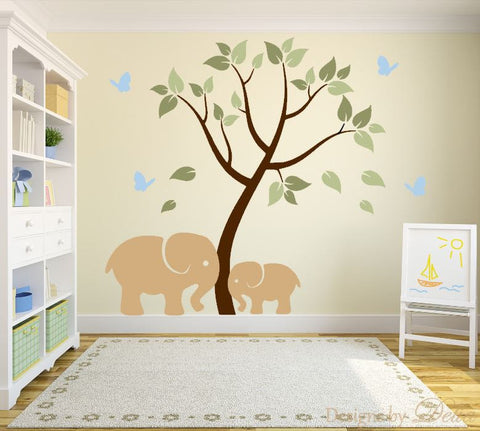 Nursery Decal with Beautiful Tree and Cute Elephants