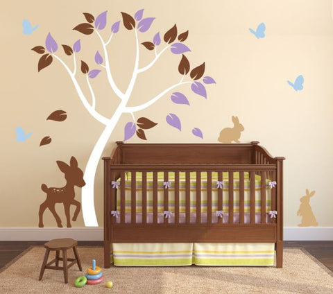 Nursery Decal with Bunnies, Deer, Butterflies, and Tree