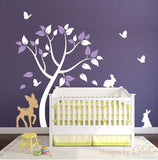 Tree Decal for Nursery with Deer, Bunnies, and Butterflies