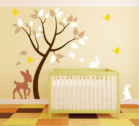 Tree Wall Decal with Deer, Bunnies, and Butterflies for Nursery
