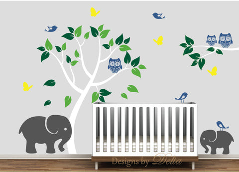 Vinyl Wall Mural with Colorful Tree, Elephants, and Jungle Friends