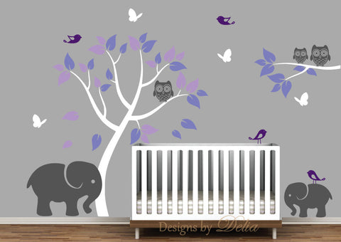 Elephants, Tree, Owls, Birds, and Butterflies Vinyl Wall Decal for Nursery