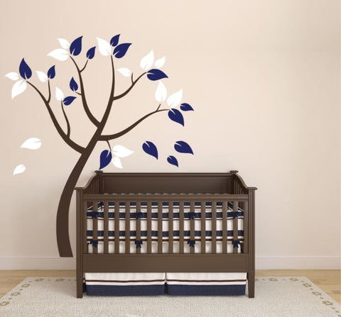 Decal for Nursery Wall with Tree and Leaves (Choose Colors)