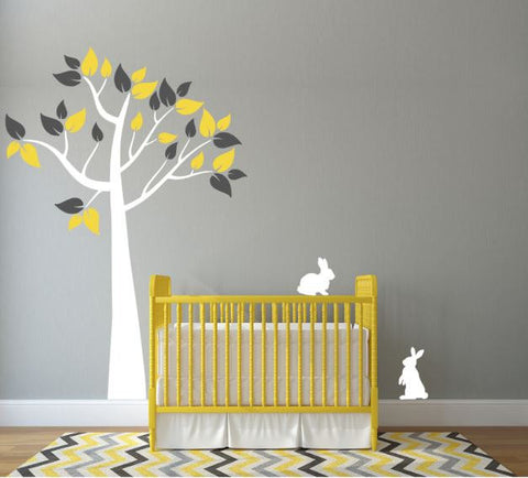 Nursery Decal with Tree and Bunnies (Choose Colors)