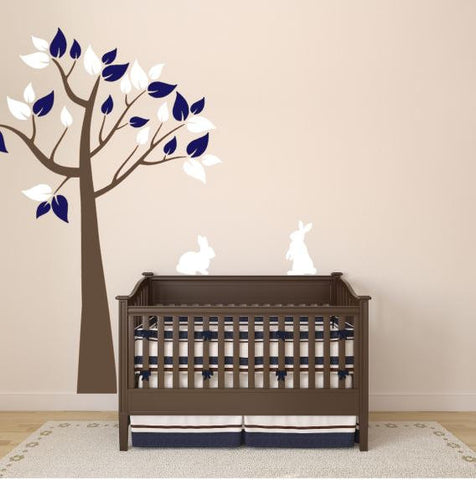 Tree and Bunny Wall Decals for Nursery (Choose Colors)