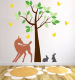 Tree Decal for Nursery with Doe, Bunnies, and Butterflies