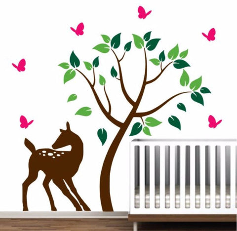 Tree Wall Decal For Nursery Doe and Butterflies