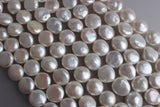 white coin shape freshwater pearl strand big size