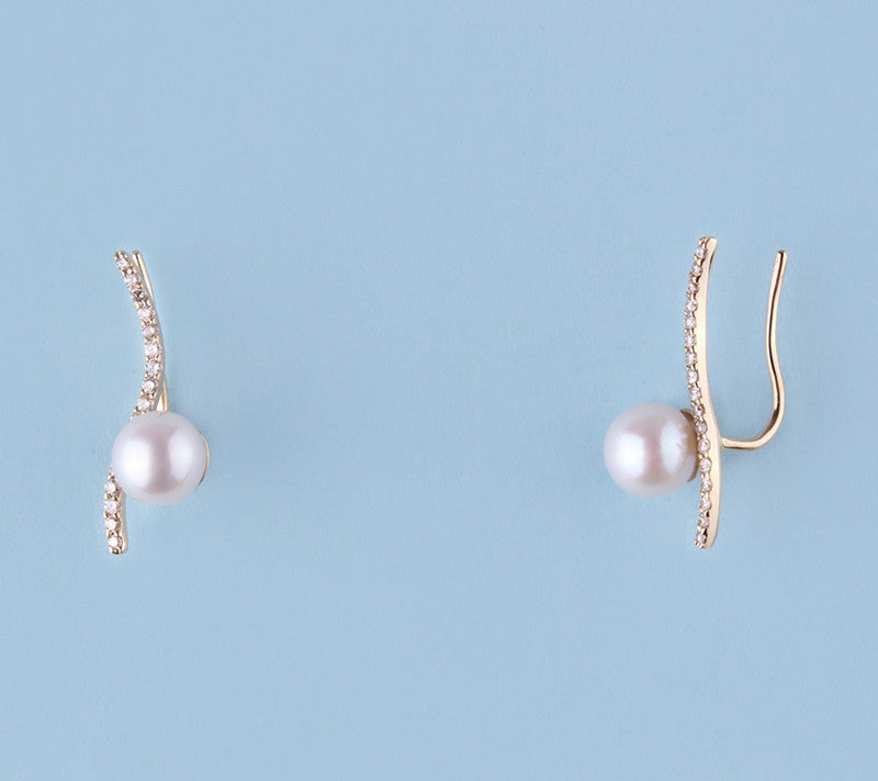 14K Yellow Gold Earrings with Freshwater Pearl and Diamond - Wing Wo Hing Jewelry Group - Pearl Jewelry Manufacturer
