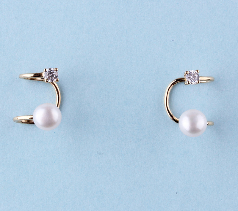 14K Yellow Gold Earrings with Freshwater Pearl and Cubic Zirconia - Wing Wo Hing Jewelry Group - Pearl Jewelry Manufacturer