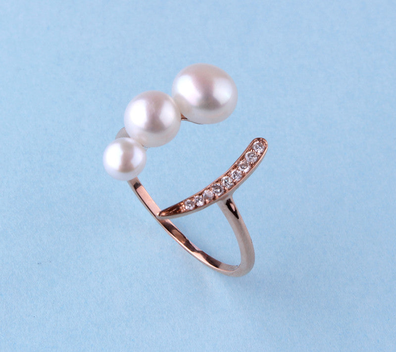 14K Rose Gold Ring with Freshwater Pearl and Diamond - Wing Wo Hing Jewelry Group - Pearl Jewelry Manufacturer