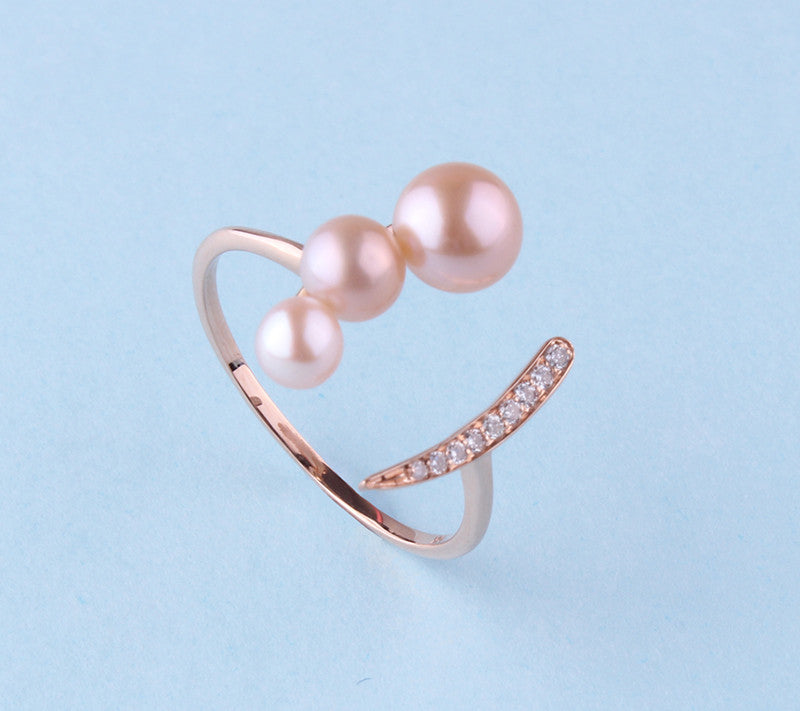 14K Rose Gold Ring with Freshwater Pearl and Dimaond - Wing Wo Hing Jewelry Group - Pearl Jewelry Manufacturer