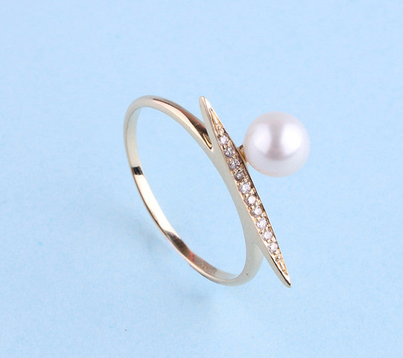 14K Yellow Gold Ring with Freshwater Pearl and Diamond - Wing Wo Hing Jewelry Group - Pearl Jewelry Manufacturer