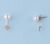 14K Yellow Gold with Freshwater Pearl and Diamond Earrings - Wing Wo Hing Jewelry Group - Pearl Jewelry Manufacturer