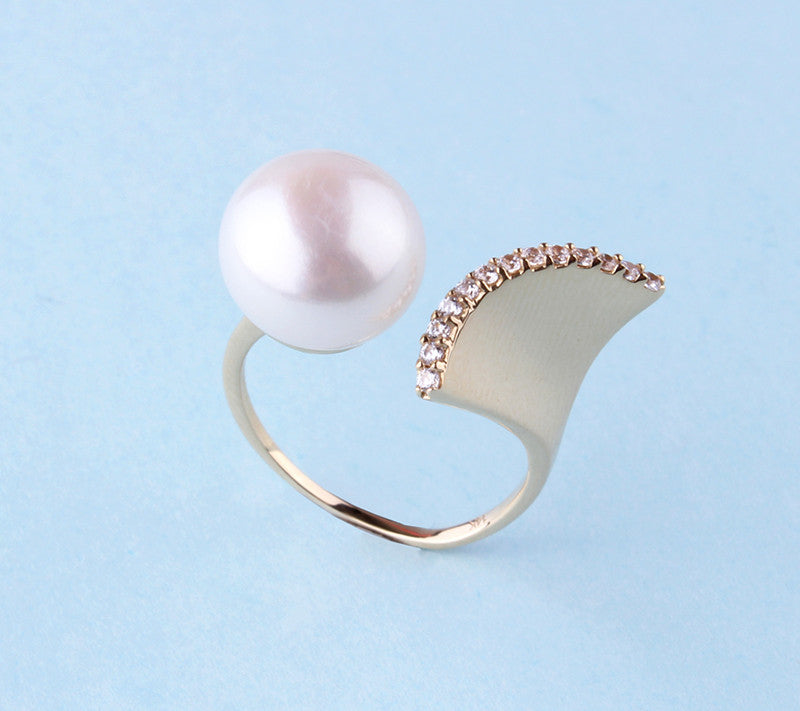 14K Yellow Gold with Freshwater Pearl and Cubic Zirconia Ring - Wing Wo Hing Jewelry Group - Pearl Jewelry Manufacturer