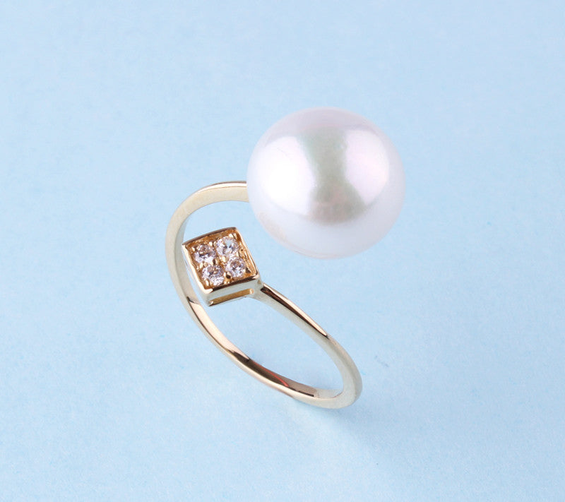 14K Yellow Gold Ring with Freshwater Pearl and Cubic Zirconia - Wing Wo Hing Jewelry Group - Pearl Jewelry Manufacturer