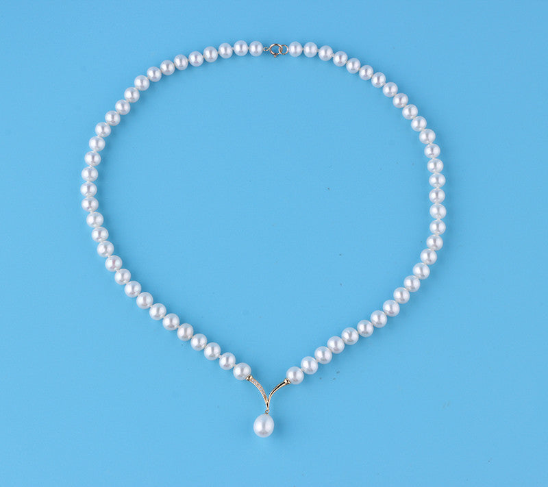 18K Yellow Gold Freshwater Pearl Necklace - Wing Wo Hing Jewelry Group - Pearl Jewelry Manufacturer