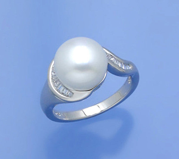 Sterling Silver Ring with 10-10.5mm Button Shape Freshwater Pearl and Cubic Zirconia - Wing Wo Hing Jewelry Group - Pearl Jewelry Manufacturer