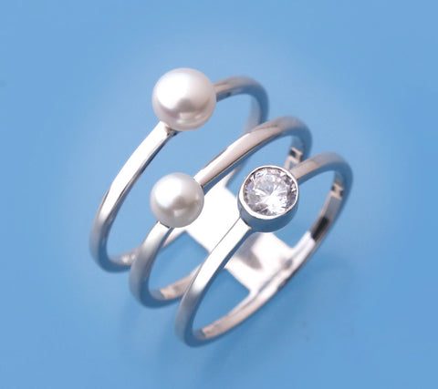 Sterling Silver with Button Shape Freshwater Pearl and Cubic Zirconia Ring