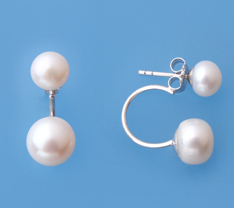 Sterling Silver with 7-9mm Button Shape Freshwater Pearl Earrings - Wing Wo Hing Jewelry Group - Pearl Jewelry Manufacturer