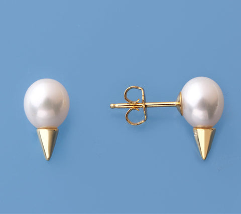 Gold Plated Silver Earrings with 7.5-8mm Drop Shape Freshwater Pearl