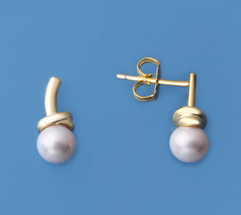 Gold Plated Silver Earrings with 5.5-6mm Round Shape Freshwater Pearl