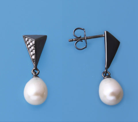 Black Plated Silver Earrings with 6.5-7mm Drop Shape Freshwater Pearl and Cubic Zirconia