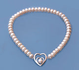 Sterling Silver Bracelet with Button Shape Freshwater Pearl - Wing Wo Hing Jewelry Group - Pearl Jewelry Manufacturer