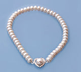 Sterling Silver Bracelet with 5-6mm button Shape Freshwater Pearl - Wing Wo Hing Jewelry Group - Pearl Jewelry Manufacturer