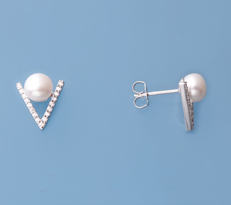 Sterling Silver with 6.5-7mm Button Shape Freshwater Pearl and Cubic Zirconia - Wing Wo Hing Jewelry Group - Pearl Jewelry Manufacturer