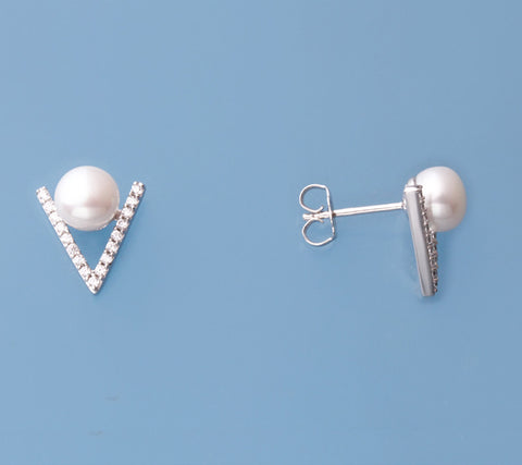 Sterling Silver with 6.5-7mm Button Shape Freshwater Pearl and Cubic Zirconia