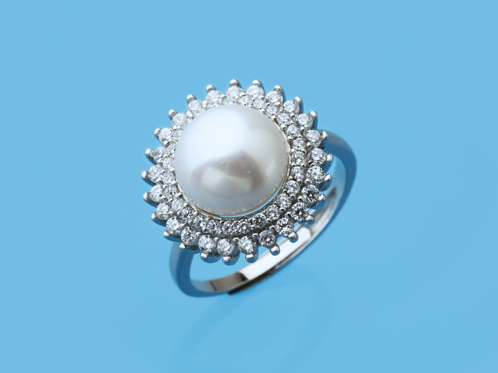 modern style freshwater pearl CZ ring