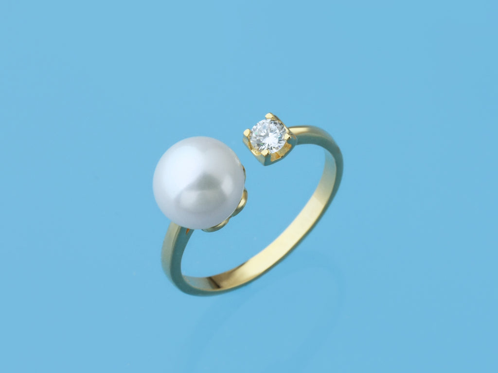 modern gold plated silver open ring pearl jewelry