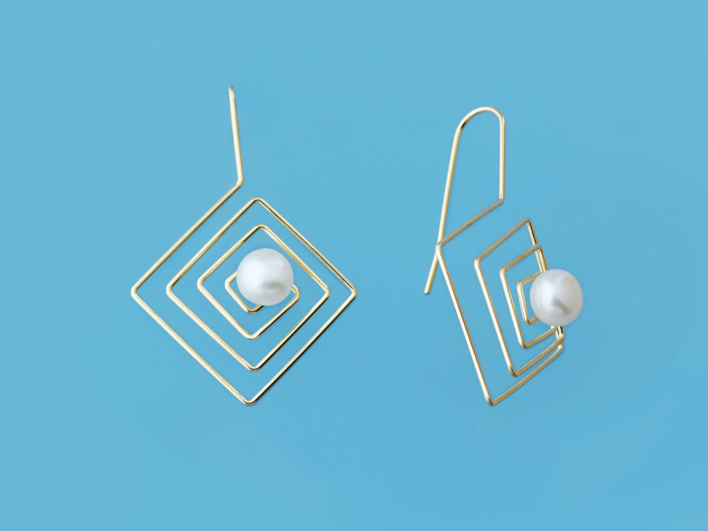 3d earrings freshwater pearl silver special