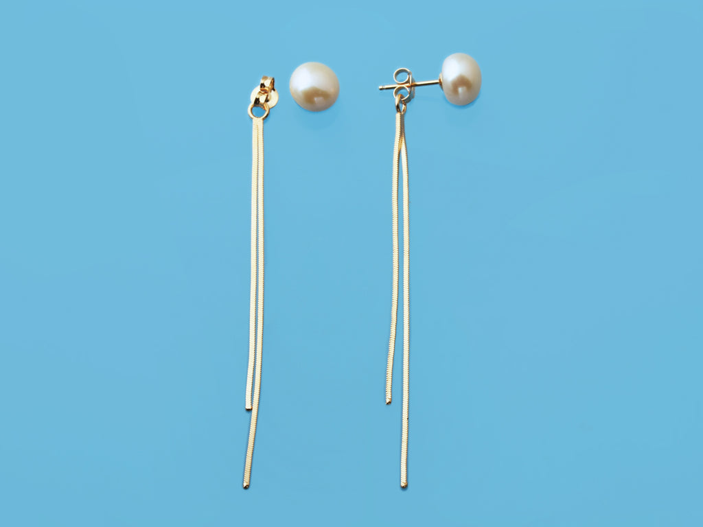 Sterling Silver Front & Back Tassel Earrings with 9-9.5mm Button Natural Color Freshwater Pearls,  Champagne Gold Plated