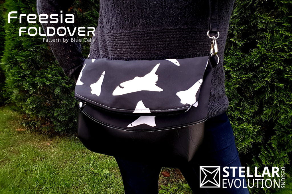 Space Shuttle Chic - New Fabric & Freesia Foldover Bag