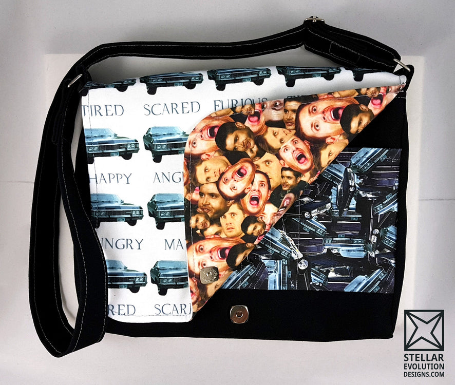 Custom Handmade Geekery and Fandom Mashups make into practical gear by Stellar Evolution Designs-Supernaturally Awesome Dean and Baby Custom Order Fandom Bag